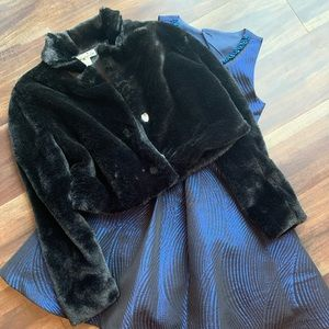 Rare Editions Dress and black fur jacket